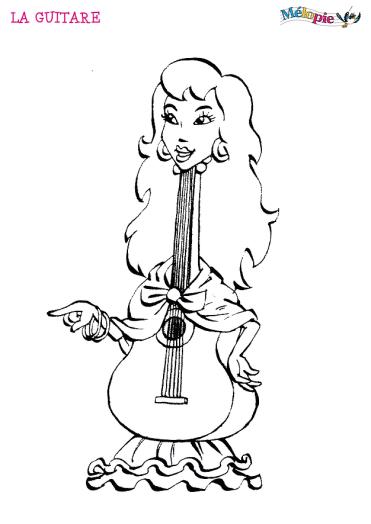 Coloriage - La guitare